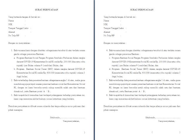 Surat Pernyataan Pilihan salah satu Bantuan Sosial dari Kementerian Sosial RI