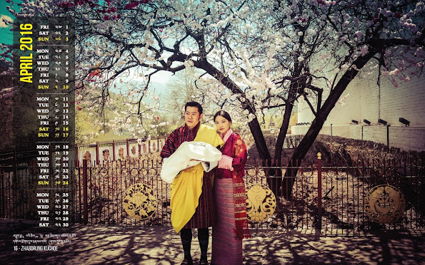 New April calendar bearing the photos of King Jigme Namgyal Wangchuck of Bhutan, Queen Jetsun Pema of Bhutan and their young son Prince (Gyalsey)