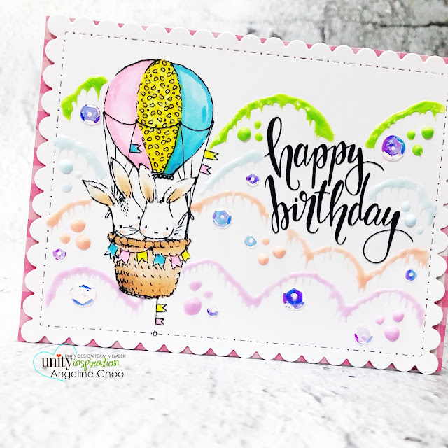 ScrappyScrappy: Stay safe and craft on with Unity Stamp - Bunnies in Balloon #scrappyscrappy #unitystampco #card #cardmaking #handmadecard #stamping #papercraft #lisaglanz #bunniesinballoon #happybirthday #birthdaycard #unitystampsequins #unitysequins #cinderellasequins #copicmarkers #nuvodrops #funclouds