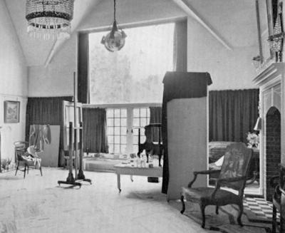 Interior B&W photo of William Orpen's London studio