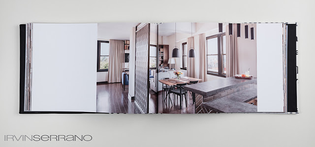 Custom, handcrafted book featuring Press Hotel project and portfolio of commercial photographer Irvin Serrano Photography in Portland, Maine.