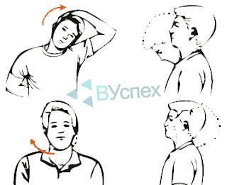 Простое упражнение для разминки мышц шеи, делать возвратно поступательные движения вперед и назад, вращательные движения в одну и в другую сторону.