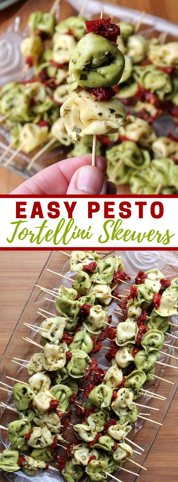 Easy Pesto Tortellini Skewers #appetizers #bbq