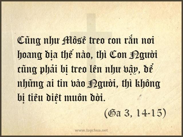 Cũng như Môsê treo con rắn nơi hoang địa thế nào, thì Con Người cũng phải bị treo lên như vậy, để những ai tin vào Người, thì không bị tiêu diệt muôn đời. (Ga 3, 14-15)