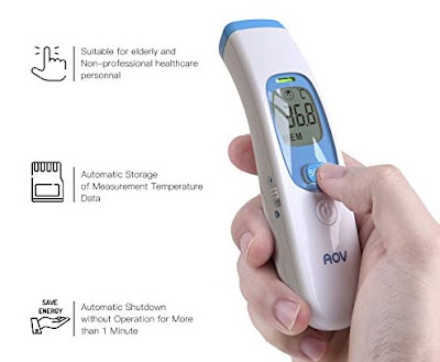 AOV Infrared Thermometer - Digital Non-Contact Forehead Temperature Monitor with Fever Indicator - Personal Health Care
