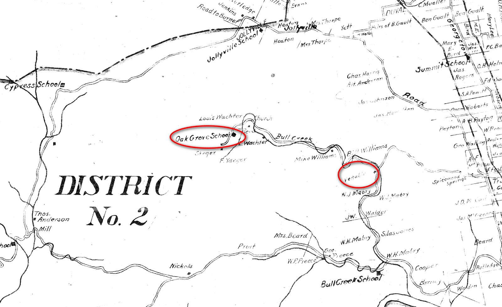 1898 1902 map of travis county roads shows original oak grove school on what is now old lampasas trail was then bull creek rd and the venable homestead