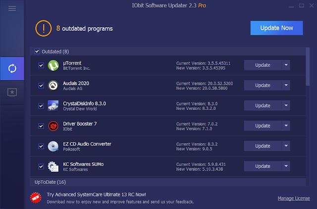 Screenshot IObit Software Updater Pro 2.3.0.2851 Full Version