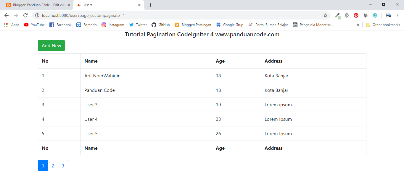 pagination codeigniter 4