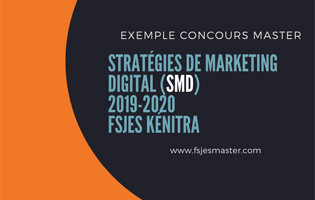 Exemple Concours Master Stratégies de Marketing Digital (SMD) 2019-2020 - Fsjes kénitra