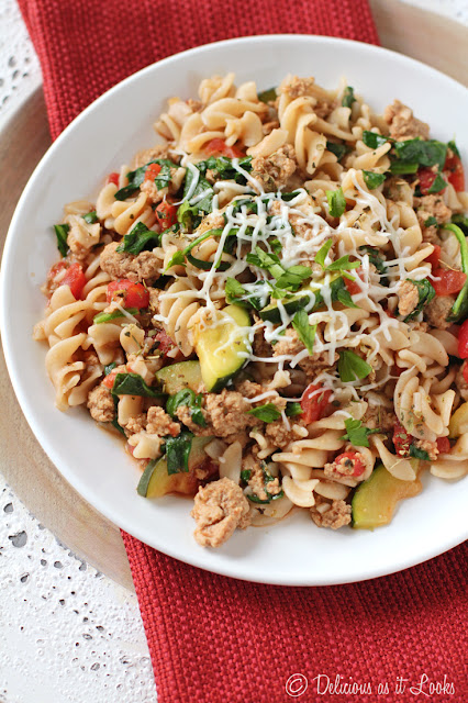 Low-FODMAP Tuscan Turkey Pasta  /  Delicious as it Looks
