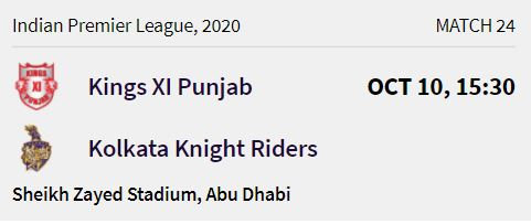Kolkata Knight Riders match 6 ipl 2020