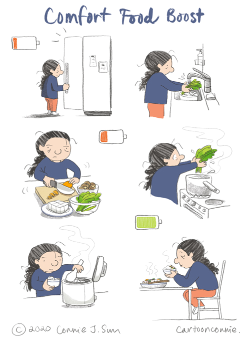 comfort food, cooking, comic strip, cartoon, comics, illustration, food illustration, diary comic, connie sun, cartoonconnie