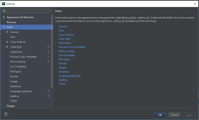 PyCharm File / Settings / Editor