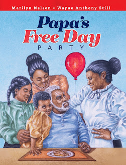 Cover of Papa's Free Day Party, showing a Black family of 5 celebrating, smiling at each other, with a red balloon in the background