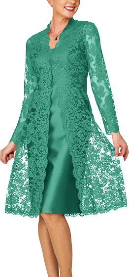 Lace Green Mother of The Bride Dresses