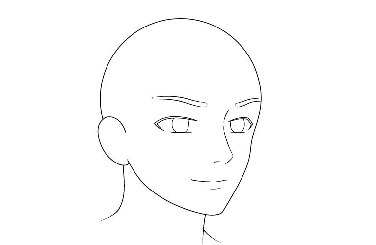 Wajah anime pria menampilkan gambar tampilan 3/4