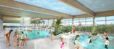 Perspective 3d centre aquatique bassin ludique
