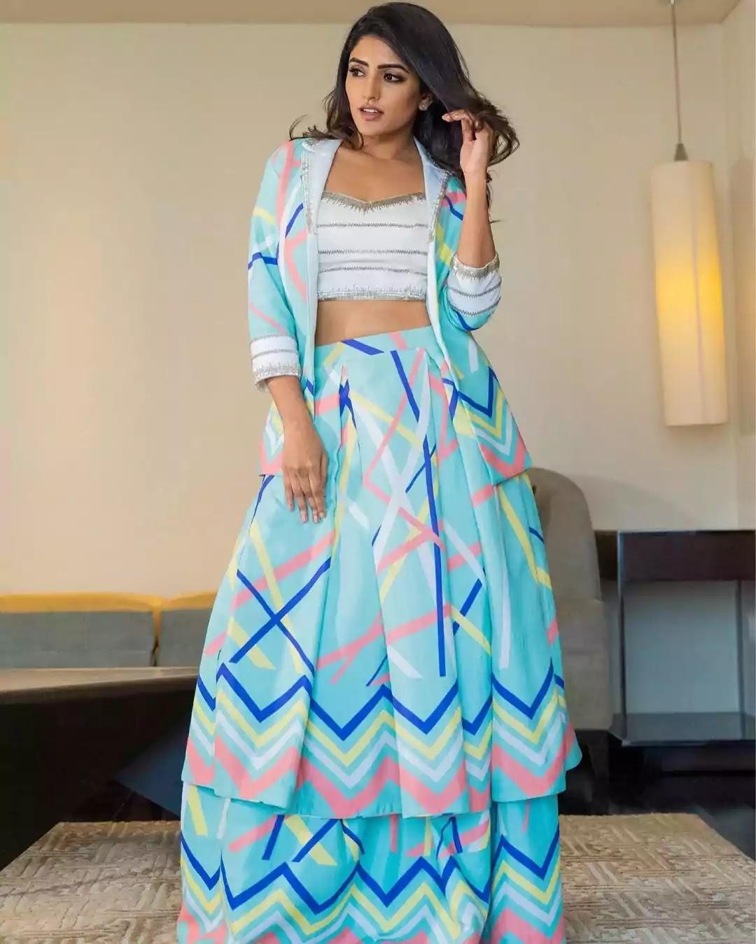 eesha-rebba-in-printed-blazer-and-skirt