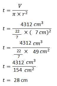 Cara menghitung tinggi tabung diketahui volume dan jari-jari