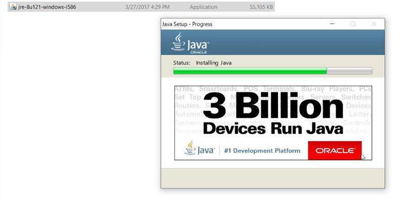 Hình 8. Quá trình cài đặt Java 8 mất vài phút