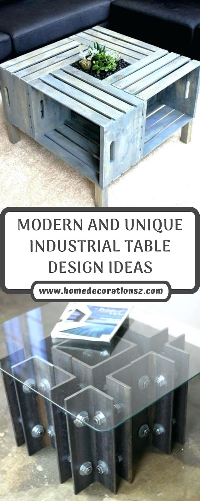 MODERN AND UNIQUE INDUSTRIAL TABLE DESIGN IDEAS