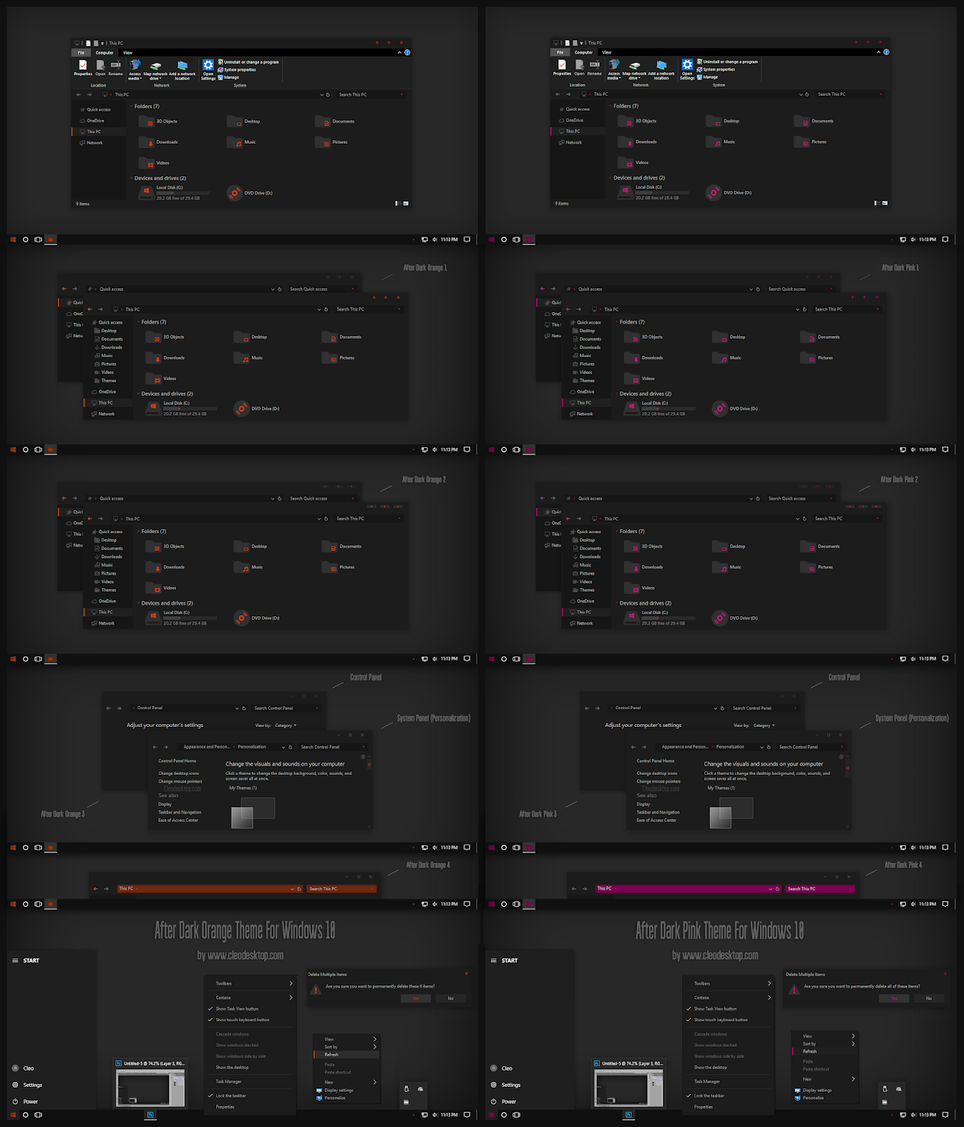 After Dark Orange And Pink Theme For Windows10 2004