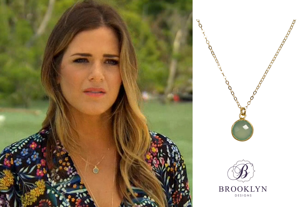 We Spotted JoJo Wearing Our Aqua Chalcedony Monica Necklace During Her Final Date With Jordan I Love That She Layered It Casey Long Gold Lariat As