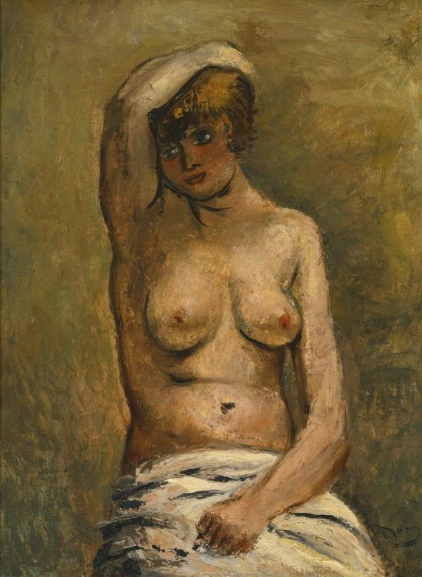 Андре Дерен André Derain Бюст сидящей женщины с обнаженной грудью