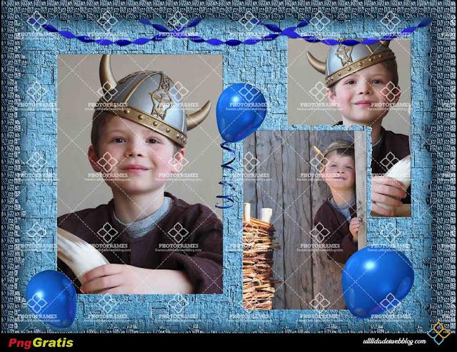 Marco de cumpleaños color azul para colocar 3 fotos