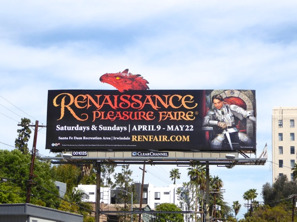 Renaissance Pleasure Faire dragon billboard 2016
