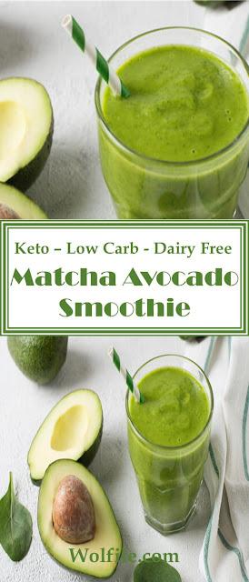 Keto Matcha, Avocado Green Smoothie Recipe #Low Carb #Keto #Smoothie