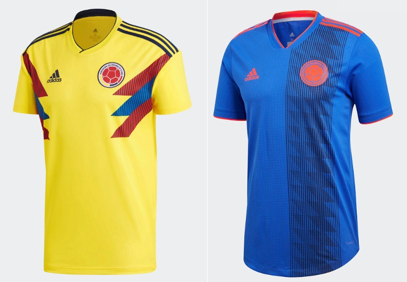 Colombia get beautiful home away kits designed by Adidas. The home kit  features traditional colours while the away kit comes in blue with orange  ... d0ae9f958