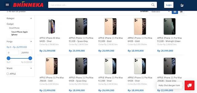 Website Bhinneka, Jual iPhone Lengkap