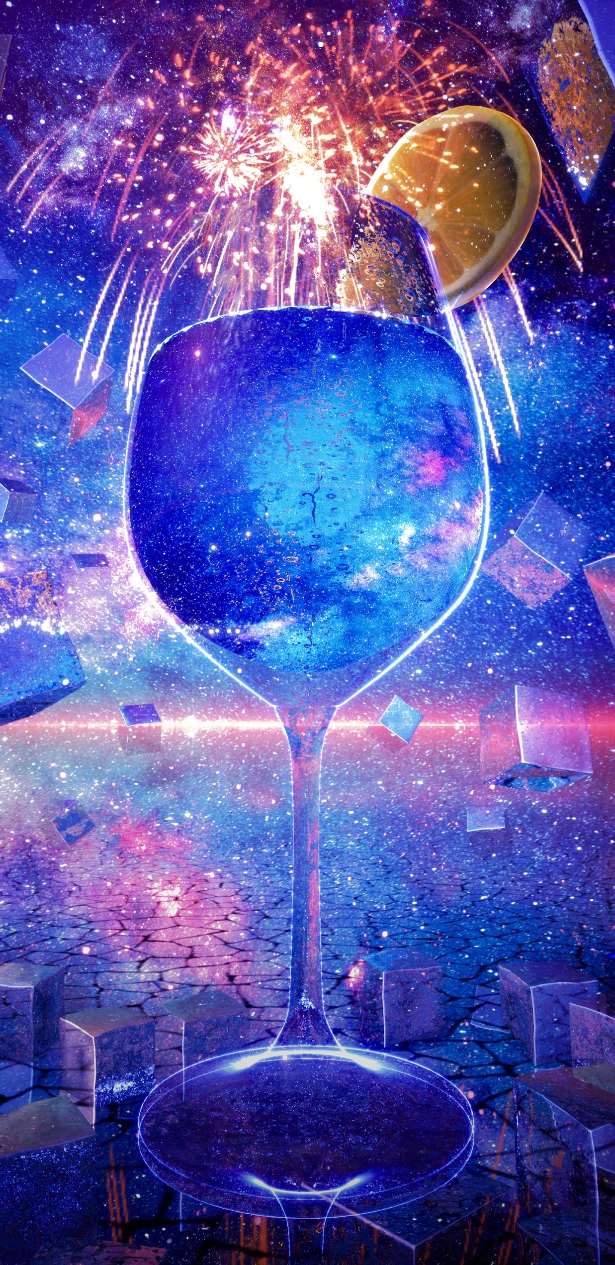 Ly cocktail biển xanh đầy sắc màu