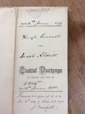 Is this Your Ancestor? June 1879: Hugh Russell to Sarah Aldritt. Chattel Mortgage