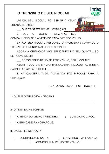 Atividade O Trenzinho de seu Nicolau; imprimir em PDF grátis