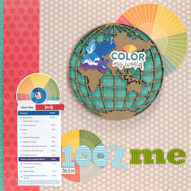 100% Me Ancestry Composition Scrapbook Layout with Chipboard Globe