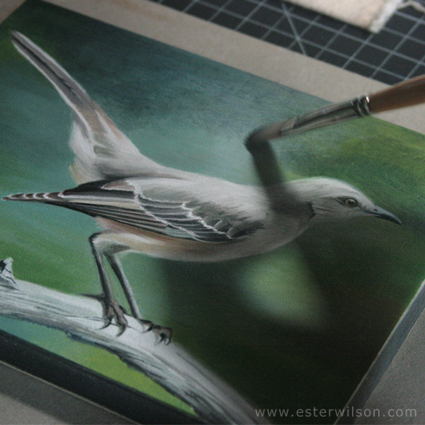Mockingbird oil painting final touches