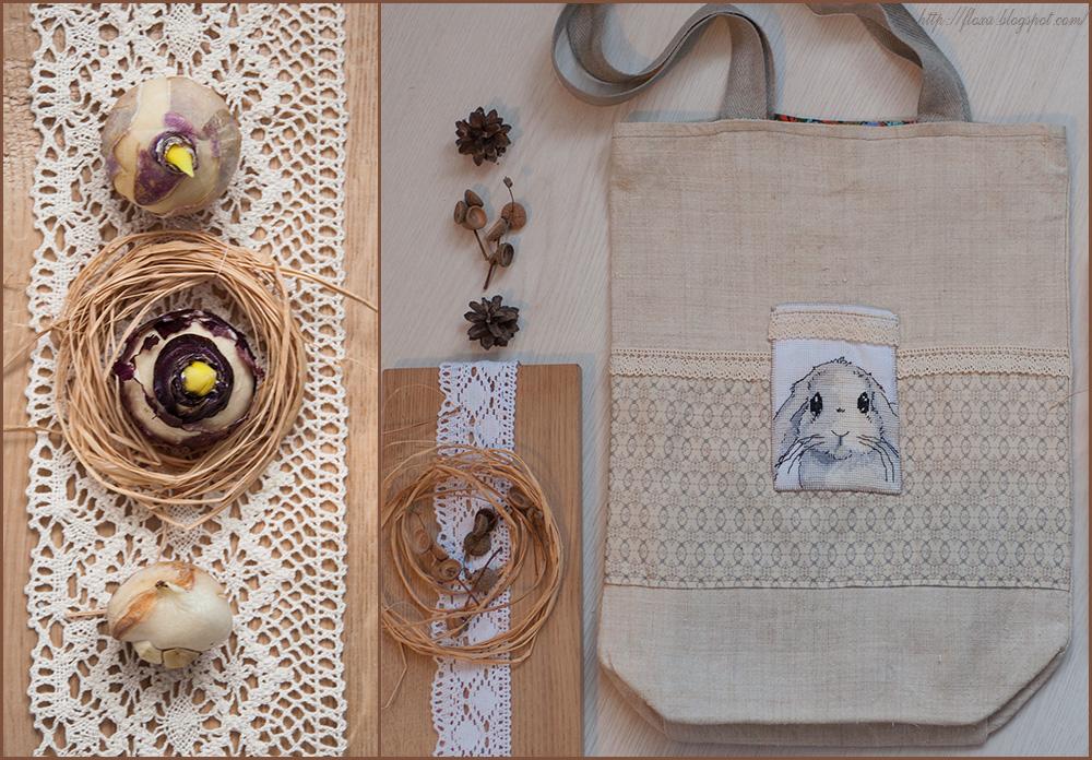 сумка с вышивкой своими руками, вышивка кролик, вышивка применение