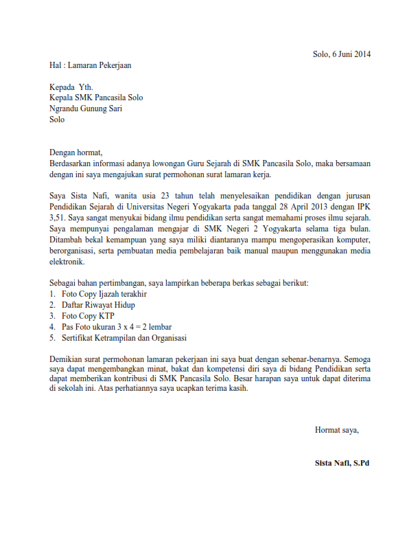 Contoh Surat Lamaran Kerja Untuk Guru Tk Kumpulan Contoh Gambar