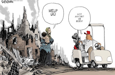 Political Cartoon of Trump sitting on his golf cart, stopped in front of a group of Syrian Kurds who are pleading for help. Trump asks them if they have any dirt on Biden. Inferring that he will help them if they do.