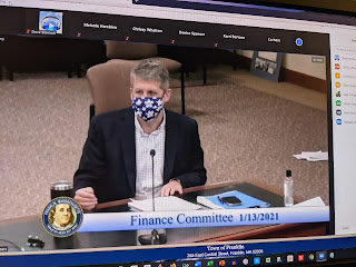 Town Administrator Jamie Hellen participating in a recent Finance Committee meeting