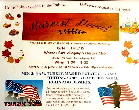 11-23 Harvest Dinner , Port Allegany Vets Club