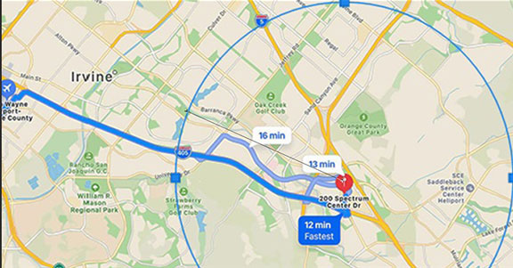 Apple Map view showing 4-mile distance from tall building (Source: Palmia Observatory)