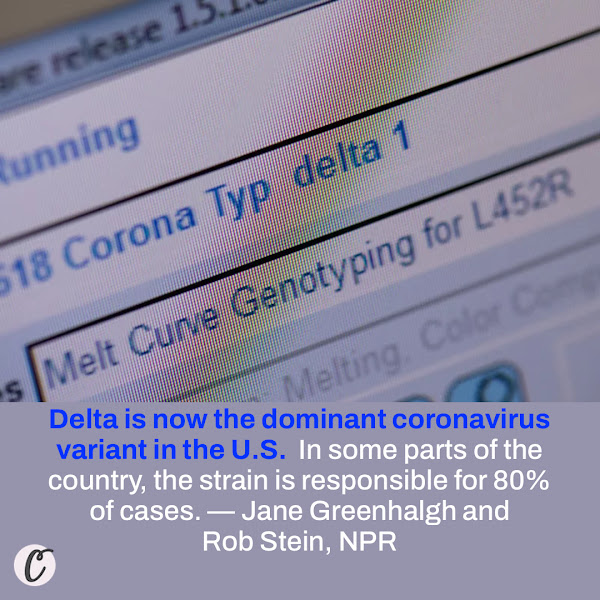 Delta is now the dominant coronavirus variant in the U.S.  In some parts of the country, the strain is responsible for 80% of cases. — Jane Greenhalgh and Rob Stein, NPR
