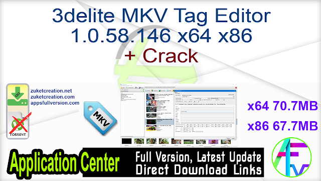 3delite MKV Tag Editor 1.0.58.146 x64 x86 + Crack