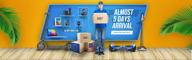 Promoção Chegada em 5 dias da Gearbest com cara renovada