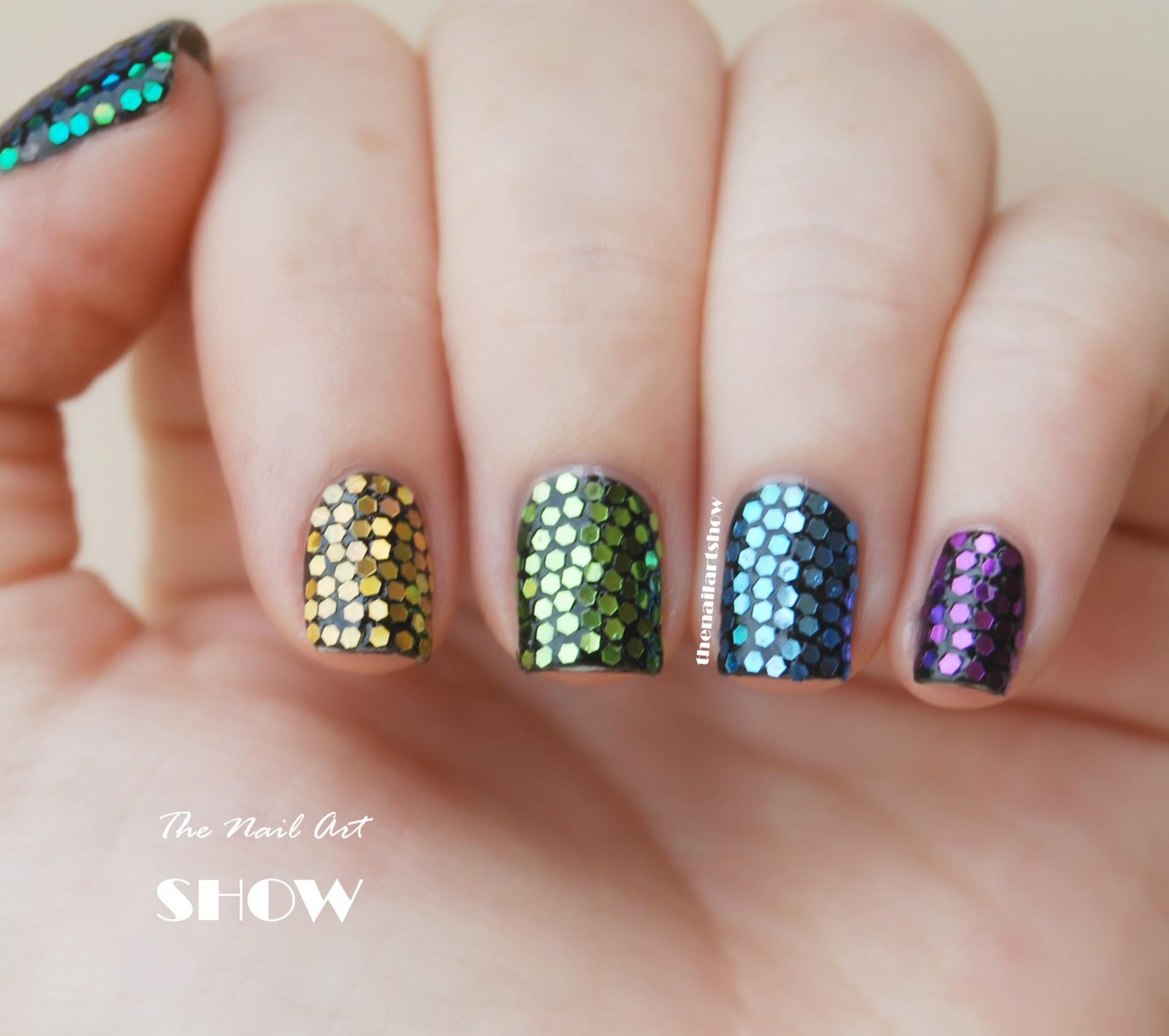June Nail Art Challenge  Day 18: Sparkles (Rainbow hex ...