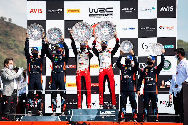 Elfyn Evans, Thierry Nuiville and Sebastien Loeb on the Rally Turkey Podium 2020