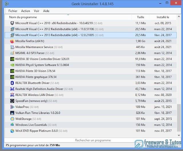 Geek Uninstaller : un logiciel portable pour désinstaller proprement les programmes